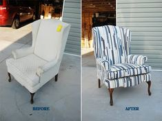 Lemonade and Porch Swings: How to Reupholster a Wingback Chair Part II (how to build a porch swings) Reupholster Furniture, Furniture Upholstery, Diy Furniture, Upholstering Chairs, Repainting Furniture, Wingback Chairs, Repurposed Furniture, White Dinning Chairs, Leather Dining Room Chairs