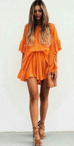 @roressclothes clothing ideas #women fashion orange dress