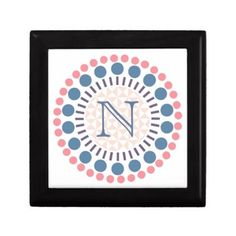 Customisable Monogram Red & Blue Circle Box - monogram gifts unique custom diy personalize