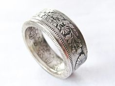 Japanese 50 sen Ring Making, Metal Embossing, How To Make Rings, Fine Jewelry, Jewellery, Coin Ring, Handmade Rings, Diamond Are A Girls Best Friend, Wedding Men