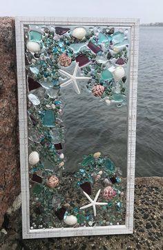 "21""x 11"" Mosaic Coastal Window, mixed media sea glass mosaic, Glass Art"