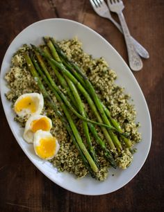 Pesto Millet, Asparagus, and Soft Boiled Eggs | Naturally Ella