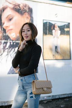 Aimee song wearing black turtle neck and light wash jeans carrying a vintage nude chanel bag Aimee song wearing black turtle neck and light wash jeans carrying a vintage nude chanel bag Beige Chanel Bag, Chanel Bag Classic, Vintage Chanel Bag, Chanel Black, Chanel Chanel, Nude Bags, Aimee Song, Chanel Outfit, Chain Shoulder Bag