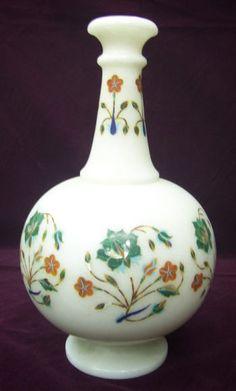 "11"" White Marble Flower Vase Malachite Inlay Stone Mosaic Arts Home Decor Gifts #AgraHeritageMarbleCrafts #Marble #Malachite #FlowerVase #Handmade #Floral #Arts #Collectible #Mosaic #Inlay #LivingTableDecor #OccasionalGift #SpecialGift #ShowpieceDecor"