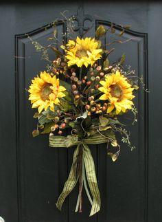 Items similar to Sunflower Bouquet - Front Door Decor - Summer Wreath - Summer Blueberries on Etsy Sunflower Arrangements, Sunflower Bouquets, Fall Bouquets, Sunflower Wreaths, Sunflower Decorations, Floral Arrangements, Floral Wreaths, Floral Bouquets, Wreath Crafts