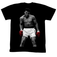 Again Muhammad Ali Tee Shirt | Generation T Black and White with only red gloves.