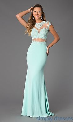 Illusion and Lace Floor Length JVN by Jovani Dress at SimplyDresses.com