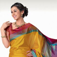 Yellow Pure Silk Saree with Blouse Latest Indian Saree, Indian Sarees Online, Namaste India, Bollywood Party, Ethnic Looks, Saree Shopping, Pure Silk Sarees, Blouse Online, Saree Collection