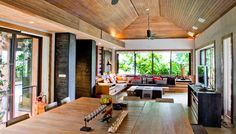 Wooden Deck Ceiling Decorating Ideas for Living Room