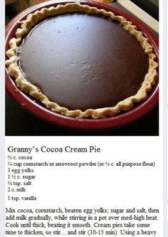 Chocolate Cream Pie (sub GF) Grandma's Chocolate Pie, Chocolate Pie Recipes, Old Fashioned Chocolate Pie, Homemade Chocolate Pie, Chocolate Meringue Pie, Chocolate Filling, Chocolate Pudding, Just Desserts, Delicious Desserts