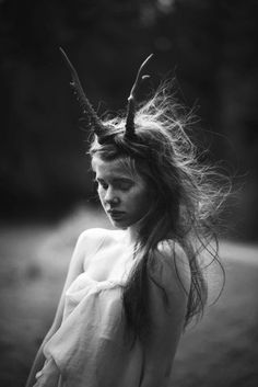 "Sally Mann from ""At Twelve"" Series - Black & White Photography Portraits, Foto Art, Fantasy, Warrior Princess, Antlers, Deer Horns, White Photography, Sally Mann Photography, Fashion Photography"