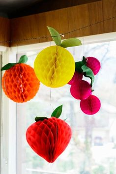 DIY Fruit tissue honeycomb balls for Cinco de Mayo - The House That Lars Built