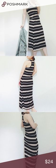 """NWT racer back black/Taupe stripe maxi dress Brand New maxi dress. Black/Taupe/white stripe. Racer back. Thin. Stretchy. 60%cotton, 40%poly. True to size.  Approx 50""""long. (Model 5'5""""). 🚫no trade Dresses Maxi"""