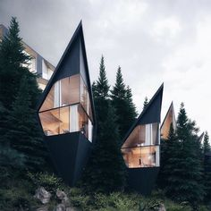 Sharply pointed roofs and blackened wood cladding characterise these treehouses that Peter Pichler Architecture has designed for a mountain forest in the Dolomites of northern Italy. Architecture Paramétrique, Architecture Durable, Sustainable Architecture, Sustainable Design, Contemporary Architecture, Sustainable Houses, Futuristic Architecture, Futuristic Houses, Larch Tree