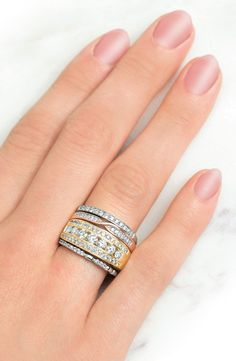 Turn up your style this fall by stacking different ring colors, patterns and widths.