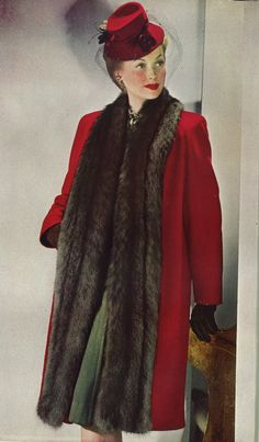 Terrifically lovely 1940s winter coat and matching hat. #1940s #vintage #fashion