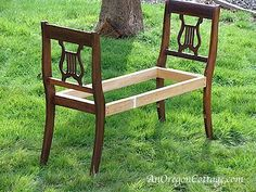 How To Make A French-Styled Bench From Broken Chairs - An Oregon CottageAn Oregon Cottage