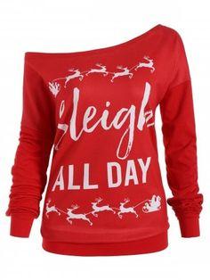 2020b67deb24f Christmas Sleigh All Day Plus Size Elk Sweatshirt - Red Xl