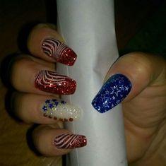 Sparkle Nail Designs, Sparkle Nails, Bling Nails, Blue Gel Nails, Acrylic Nails, Stylish Nails, Trendy Nails, Ambre Nails, American Flag Nails