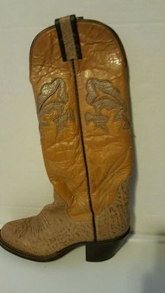Brown two tone leather cowboy western boots THE SANDERS unique design size 5 B #TheSandersBootMakers #CowboyWestern #Casual