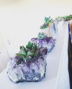 Amethysts and other crystals have taken over homes this year. So why not combine this glamorous trend with the of-the-moment plant, as seen with this planter ($55 to $80, etsy.com)?