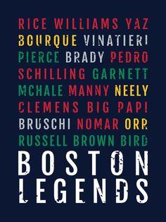 Boston Legends Print - Patriots Man Cave Poster - Boston Celtics Print, Red Sox Boyfriend Gift, Bruins Wall Art, Husband Gift - Wall Art