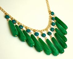 Green Jade and Turquoise Statement Necklace Bib