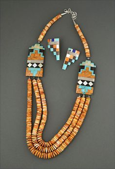 Spiny Oyster & Mosaic Inlay Necklace & Earrings by P. Rosetta (Santo Domingo)