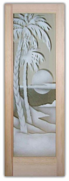 Palm Sunset 2D Glass Front Doors Etched Palm Trees Sunset Frosted Glass Door