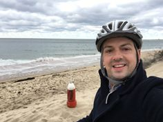 Nathan Dylan Goodwin enjoying a day's cycling around the sand dunes of Provincetown.