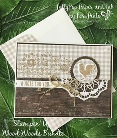 Stampin' Up! Wood Words stamp set and bundle, Monochromatic, Mono Monday, Rustic Note Card