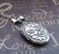 Silver Locket Necklace  Enchanted Bow and by TheEnchantedLocket