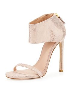 Zapato femenino , ideal para una velada en el dia de los enamorados. Showgirl Ankle-Cuff Sandal, Flesh by Stuart Weitzman at Neiman Marcus. www.espaciosawa.com