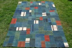 Blue Green Patchwork Kilim rug, Handmade in Turkey from Recycled Materials