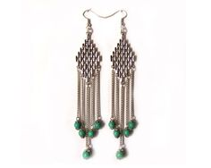 Dangling earrings with chandelier ,chains and turquoise beads by CapricesDeParisienne on Etsy