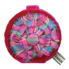 This compact mirror has a plush velvet outer and features the bold, bright Rosette design. Compact Mirror, Pink Silk, Rosettes, Linens, Mirrors, Coin Purse, Plush, Velvet, Bright