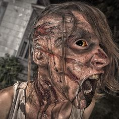 """Rick Prince special FX artist created this frightening zombie with the help of our materials. """"I used Dragon Skin to create the appliances and SkinTite to apply and blend."""" #moldmaking #casting #halloween"""