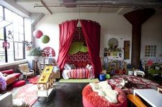 rich room colors and chic designs, Boho ideas in bright colors
