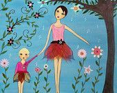 Ballerina Mother and Daughter Painting Art Print on Wood. $35.00, via Etsy. Perfect for Ava's Ballerina Bathroom!!