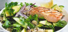 Gegrillde zalm uit de Airfryer met quinoa en een bonen salade, gluten-vrij
