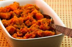 Spicy sweet potatoes in the slow cooker