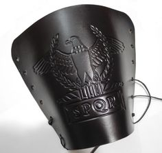 Leather arm guard, tooled leather, Roman eagle and SPQR in tabula ansata, handmade bracer