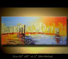 art painting landscape Original Abstract Painting, Modern Textured Painting,Palette Knife, Home Decor, Painting Oil on Canvas by Chen m005