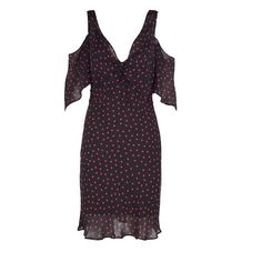 Mcq Alexander Mcqueen Cold-Shoulders Polka-Dots Crepe Dress (448 AUD) ❤ liked on Polyvore featuring dresses, ruffle sleeve dress, pink dress, cut-out shoulder dresses, v neck dress and polka dot dresses