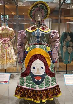 Grayson Perry's Dresses: Dress and matching bonnet, printed and appliquéd cotton, mixed fabrics and ceramic buttons, designed by Grayson Perry, 2008