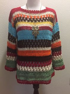 Beautiful Multicolor Sweater made with left over cotton thread.