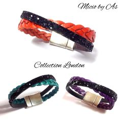 Bracelet cuir et glitter par Micio by As