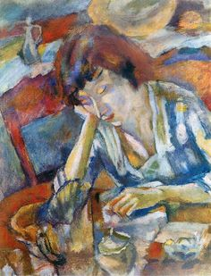 Jules Pascin (1885-1930)  Hermine, 1919 Hermine David was a French painter, who married the Bulgarian-born painter Pascin in New York City shortly after they moved to the States in 1915.
