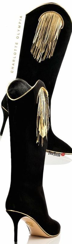 ❈Téa Tosh❈ Charlotte Olympia, Magnifico… black suede features vivid gold piping and magnificent leather tassel detailing Thigh High Boots, Over The Knee Boots, Old Hollywood Glamour, Leather Tassel, Gold Fashion, Luxury Shoes, Charlotte Olympia, Beautiful Shoes, Black Suede