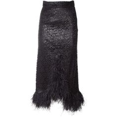 Faith Connexion  Ostrich Feathers Metallic Lace Long Skirt ($1,690) ❤ liked on Polyvore featuring skirts, nero, metallic skirt, metallic maxi skirt, lacy skirt, long lace skirt and ankle length skirt